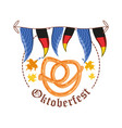 pretzels with germany flags garland oktoberfest vector image