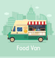 retro food van on city background vector image