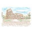 rome colosseum hand drawn watercolor vector image