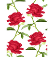 seamless background with pink roses with stem vector image vector image