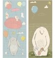 seamless pattern with hares and bear vector image