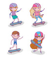 set children play skateboards and helmet vector image vector image
