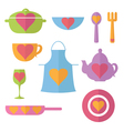 set flat icon of kitchen vector image vector image