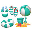 set of beach element vector image