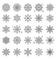 set snowflakes in different shapes forms vector image vector image