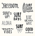 set surfing quotes hand drawn lettering vector image