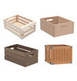 set wooden boxes collection boxes made vector image