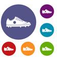 soccer shoe icons set vector image vector image