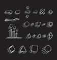 Thin hand drawn arrows geometric shapes shadow vector image vector image