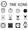 time and clock icons vector image vector image