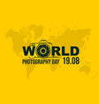 typography logo world photography day vector image vector image