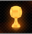 winner baseball cup award golden trophy logo vector image vector image