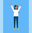 woman raising hands up blue vector image vector image