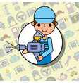 worker holding painting sprayer tool car service vector image