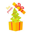 best presents christmas tree on white background vector image