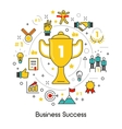 Business Success Line Art Thin Icons Set vector image
