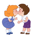 Two kissing children on white background vector image
