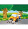 A car crash at the road near the big trees vector image vector image