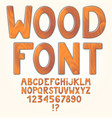 awesome wooden alphabet isolated on white vector image