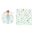 baby seamless pattern with flowers vector image