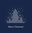 blue xmas postcard with firtree vector image vector image