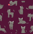 cartoon characters tabby cat seamless pattern vector image vector image