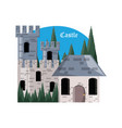 castle and pine trees design vector image vector image