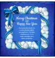 Christmas card with frame of white and blue balls