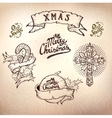 christmas tattoo set vector image vector image