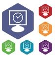 Computer time icon hexagon set vector image vector image