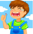 crying boy vector image vector image