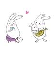 Cute cartoon bunnies vector image vector image