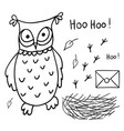 Cute cartoon wise owl with mail nest footprints