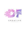 df d f zebra lines letter logo design with vector image