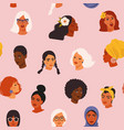 diverse women face seamless pattern with different vector image