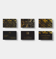 elegant black luxury business cards set with vector image