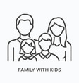 family with kids flat line icon outline vector image