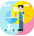 father and son in a stroller vector image