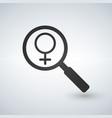 female gender sign under a magnifiyng glass vector image vector image