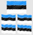 Flat and Waving Hand Draw Sketch Flag of Estonia vector image vector image