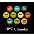 Flat icons set 6 - calendar collection vector image