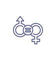 gender equality equal rights line icon vector image vector image