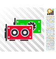 gpu cards flat icon with bonus vector image vector image