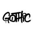 graffiti gothic word sprayed in black over white vector image
