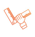 hand with carpenter square vector image vector image