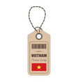 hang tag made in vietnam with flag icon isolated vector image