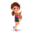little girl holding a dog in her arms vector image vector image