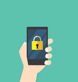 lock icon on mobile phone hand hold phone vector image vector image