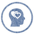love in mind rounded fabric textured icon vector image vector image