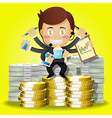 man with many arms and dollar bills and coins vector image